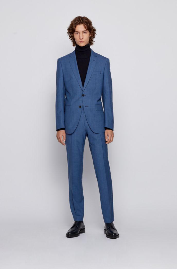 Slim-fit suit in checked virgin-wool serge