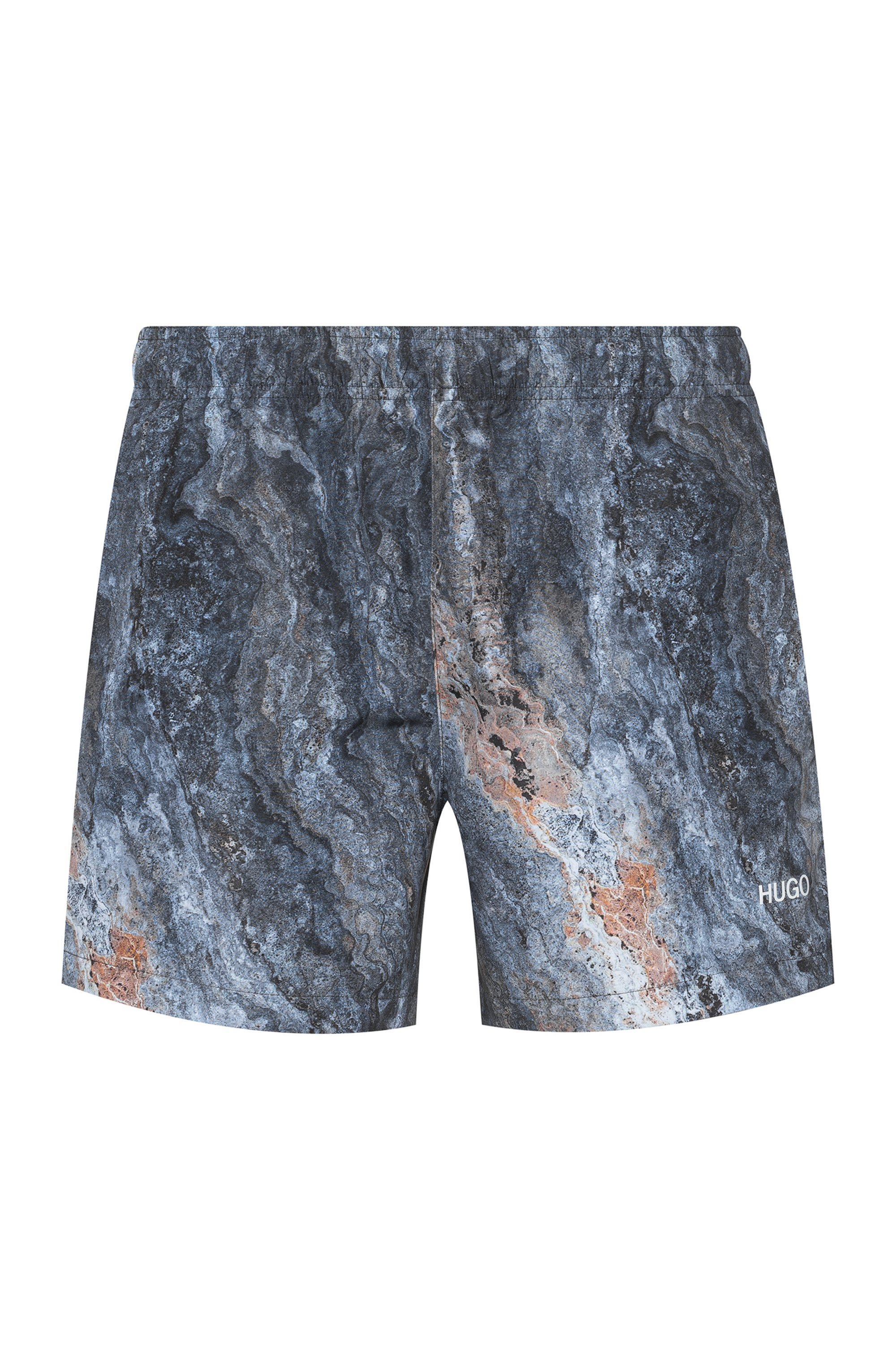 Marble-print swim shorts in quick-drying recycled fabric, Patterned