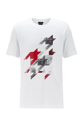 Slim-fit T-shirt in cotton with houndstooth artwork, White