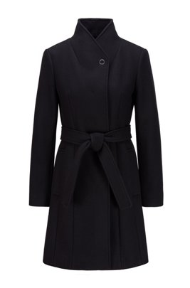 Belted coat in a virgin-wool blend with cashmere, Black