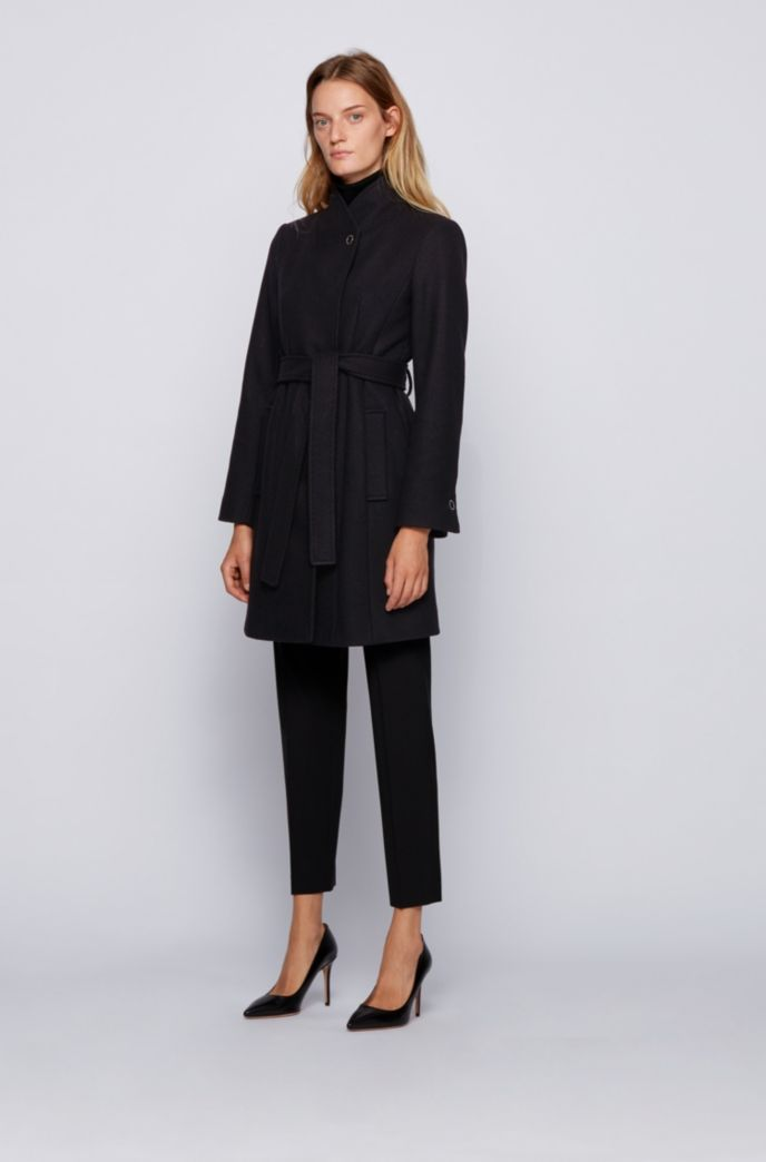 Belted coat in a virgin-wool blend with cashmere