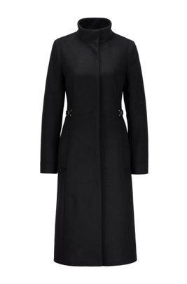 Long coat in virgin wool with cashmere, Black