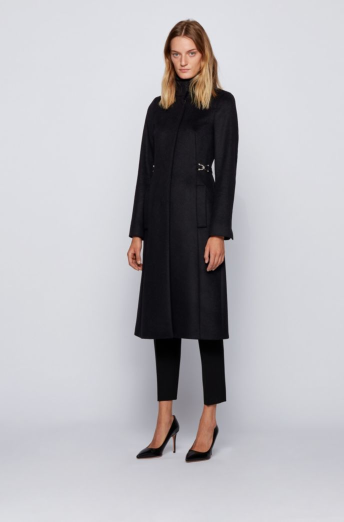 Long coat in virgin wool with cashmere