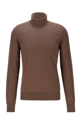 Slim-fit roll-neck sweater with mixed knits, Khaki