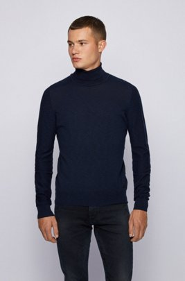Slim-fit roll-neck sweater with mixed knits, Dark Blue