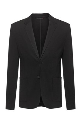 Extra-slim-fit jacket in stretch jersey, Black