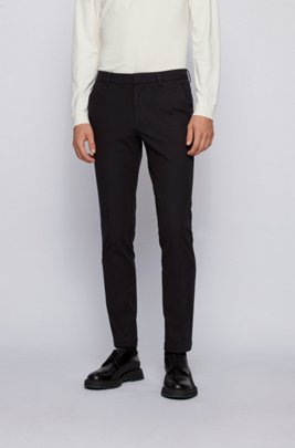 Slim-fit pants in travel-friendly stretch twill, Black