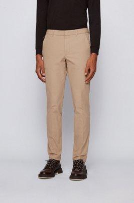 Slim-fit pants in travel-friendly stretch twill, Light Beige