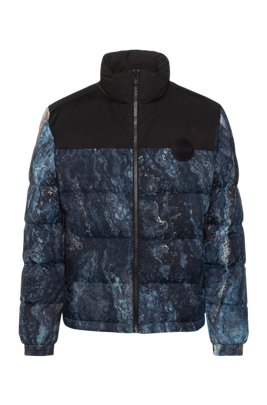 Jacket with collection print and reversed-logo details, Patterned