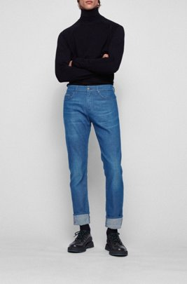 Slim-fit jeans in steel-blue Italian denim, Blue