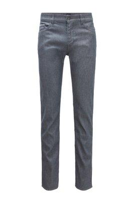 Slim-fit jeans in gray Italian stretch denim, Grey