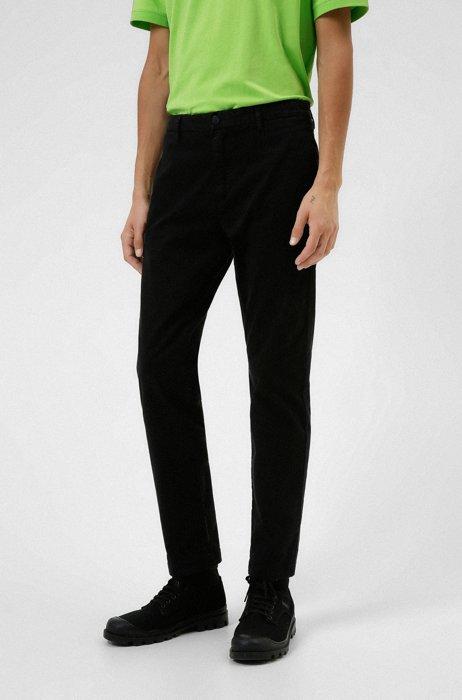 Slim-fit chinos in stretch-cotton gabardine, Black