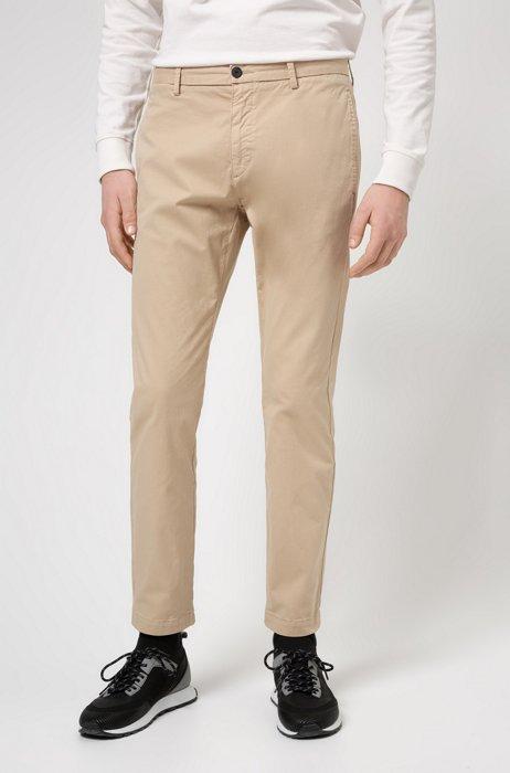 Slim-fit chinos in stretch-cotton gabardine, Beige