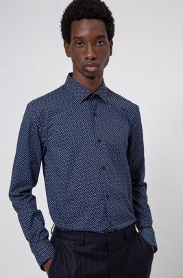 Slim-fit shirt in a micro-pint stretch-cotton blend, Dark Blue