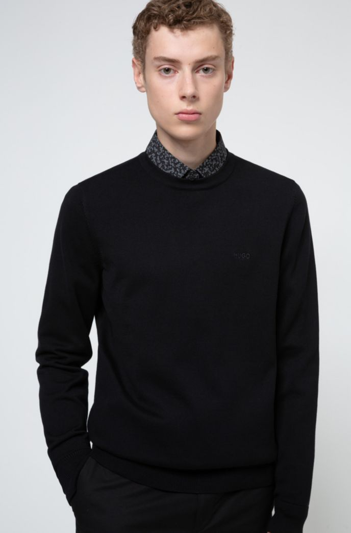 Patterned slim-fit shirt in a stretch-cotton blend