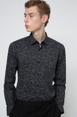 Patterned slim-fit shirt in a stretch-cotton blend, Black