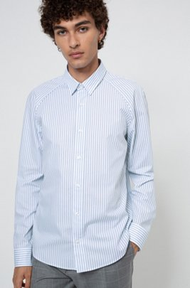Slim-fit shirt in striped cotton canvas, Light Blue
