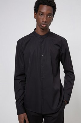 Slim-fit shirt in cotton with piped stand collar, Black