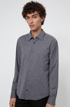 Slim-fit shirt in melange stretch jersey, Dark Grey