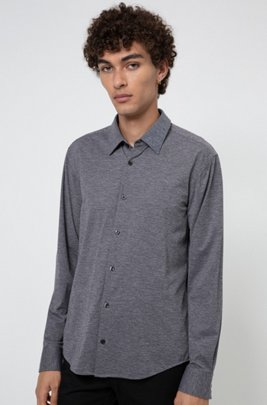 Slim-fit shirt in melange stretch jersey, Dark Grey