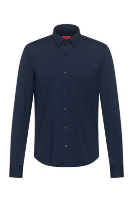 Slim-fit shirt in melange stretch jersey, Dark Blue