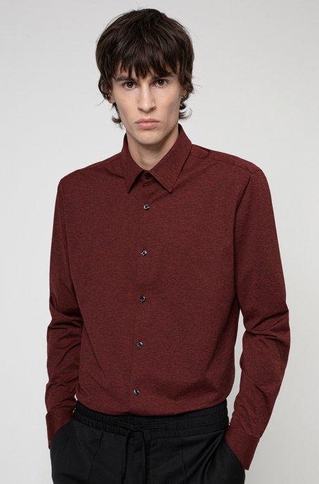 Slim-fit shirt in melange stretch jersey, light pink