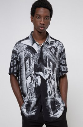 Relaxed-fit shirt with collection-themed print, Black
