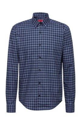 Slim-fit shirt in Glen-check cotton flannel, Dark Blue
