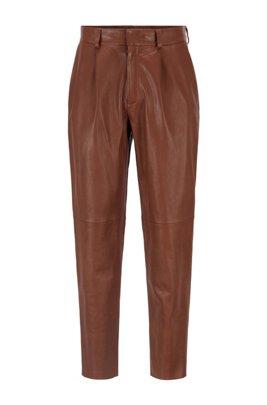 Slim-fit leather pants with paneling detail, Dark Brown