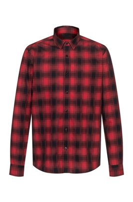 Relaxed-fit cotton shirt with Glen check, light pink