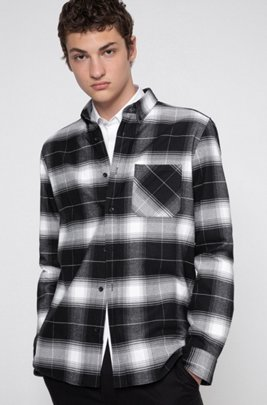 Relaxed-fit shirt in cotton flannel with Glen check, Black
