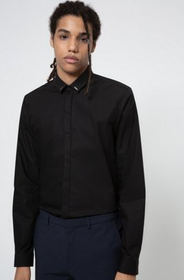 Easy-iron extra-slim-fit shirt with collar trim, Black