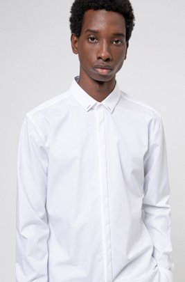 Easy-iron extra-slim-fit shirt with collar trim, White