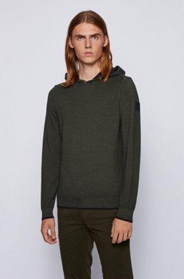 Garment-washed hooded sweater in virgin wool, Light Green