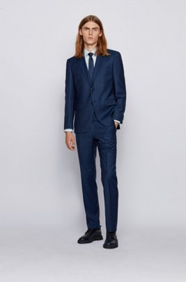 Regular-fit suit in virgin-wool serge, Dark Blue