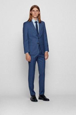Slim-fit suit in traceable micro-pattern wool, Dark Blue