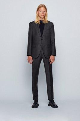 Slim-fit suit in checkered virgin wool, Light Grey