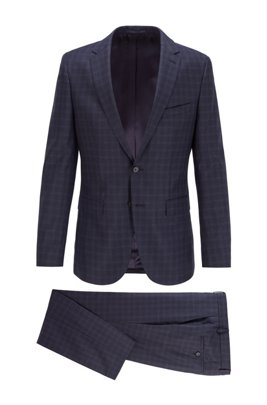 Slim-fit suit in checked wool with soft construction, Dark Blue