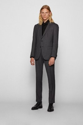 Slim-fit suit in patterned stretch fabric, Light Grey