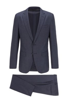 Slim-fit suit in patterned stretch fabric, Dark Blue