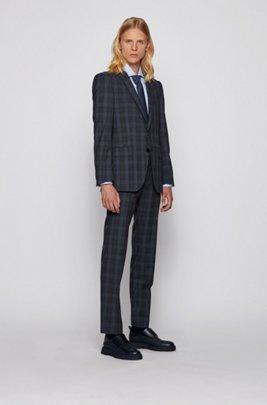 Slim-fit suit in Glen-check virgin wool, Dark Blue