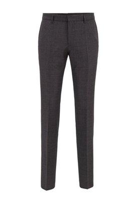 Slim-fit pants in melange virgin wool, Light Grey