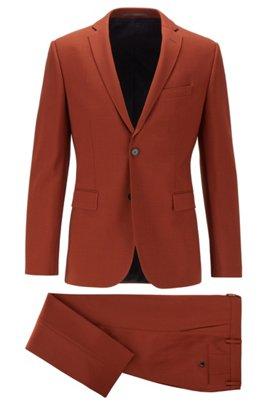 Extra-slim-fit patterned suit in stretch virgin wool, Light Orange