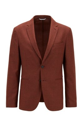 Slim-fit jacket in melange virgin wool, Light Orange