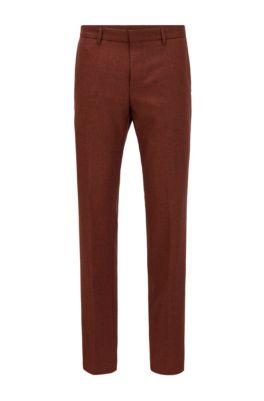 Slim-fit pants in washable melange virgin wool, Light Orange