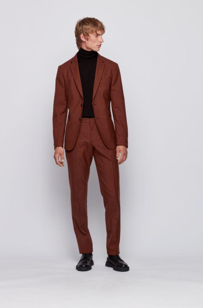 Slim-fit pants in washable melange virgin wool
