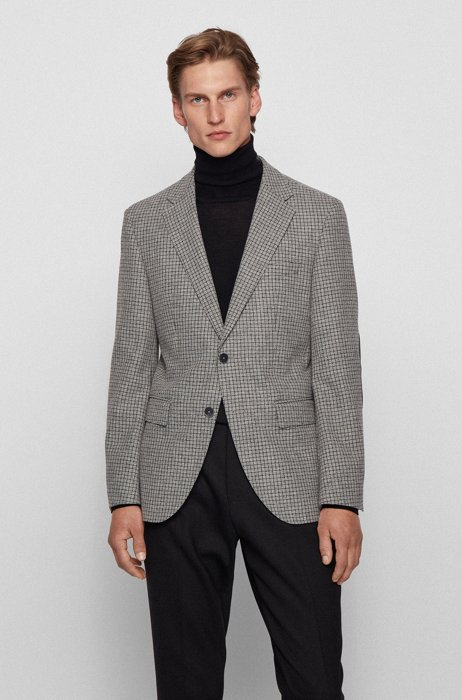 Regular-fit single-breasted jacket in checked fabric, Silver