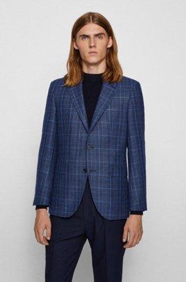 Regular-fit jacket in checked cloth, Dark Blue