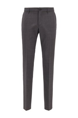 Slim-fit pants in patterned virgin wool, Light Grey