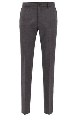 Slim-fit pants in patterned virgin wool, Light Grey